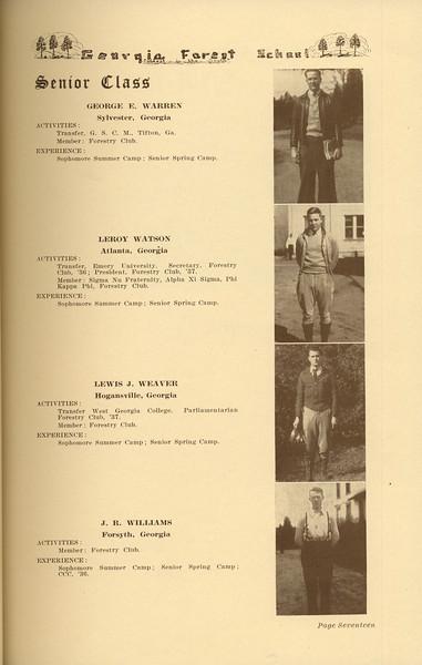 The Cypress Knee, 1937, Senior Class (continued), George E. Warren, Leroy Watson, Lewis J. Weaver, J. R. Williams, pg. 17
