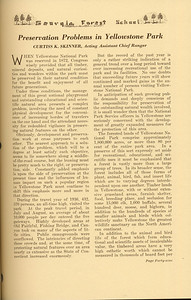 """The Cypress Knee, 1937, """"Preservation Problems in Yellowstone Park"""", Curtiss K. Skinner, pg. 49"""