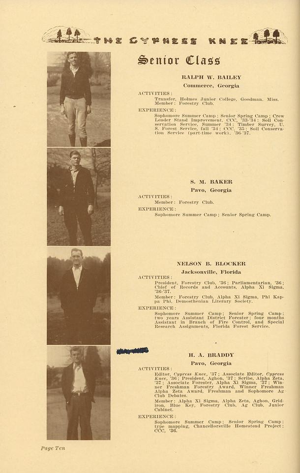 The Cypress Knee, 1937, Senior Class, Ralph W. Bailey, S. M. Baker, Nelson B. Blocker, H. A. Braddy, pg. 10