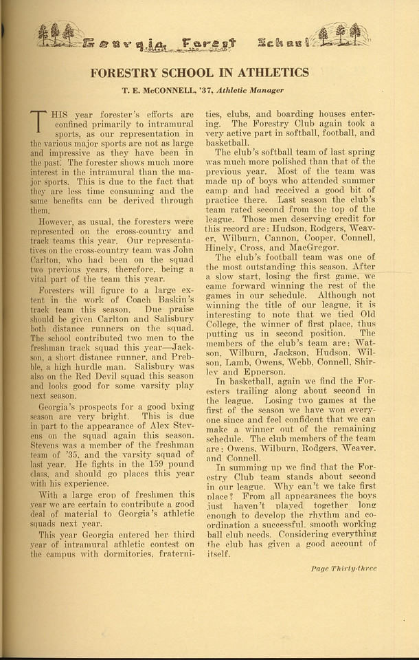 """The Cypress Knee, 1937, """"Forestry School in Athletics"""", T. E. McConnell, pg. 33"""