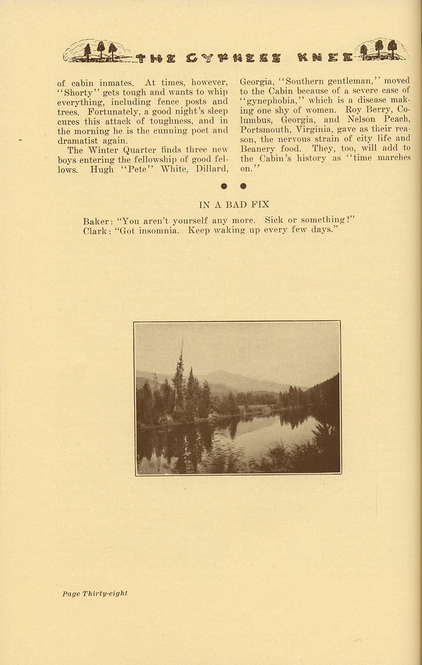 """The Cypress Knee, 1937, """"History of the Forestry Cabin"""" (continued), Richard C. Allen, pg. 38"""