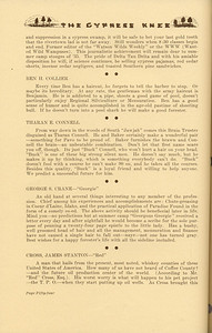 """The Cypress Knee, 1937, """"Tumblin' Out"""" (continued), Ben H. Collier, Tharan E. Connell, George S. Crane, Jame Stanton Cross, pg. 54"""
