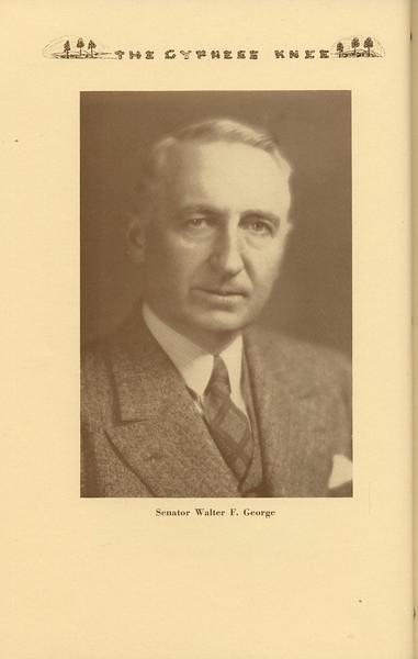 "The Cypress Knee, 1937, ""Senator Walter F. George, pg, 4"