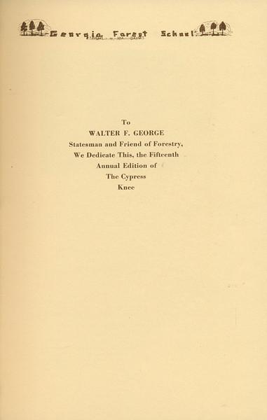 The Cypress Knee, 1937, Dedicationa, Walter F. George, pg. 5