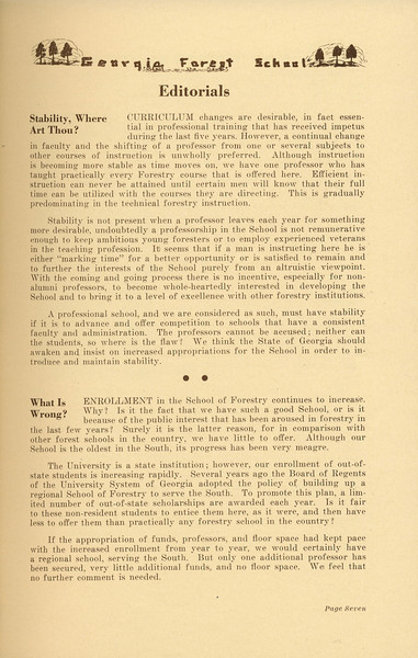 """The Cypress Knee, 1937, Editorials, """"Stability, Where Art Thou?"""", """"What is Wrong?"""", pg. 7"""