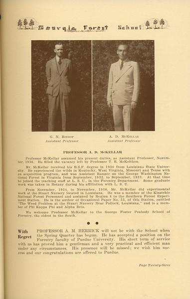 The Cypress Knee, 1937, Forestry School Faculty (continued), Professor A. D. McKellar, Professor A. M. Herrick, pg. 23