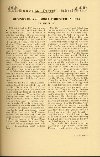 """The Cypress Knee, 1937, """"Musings of a Georgia Forester in 1947"""", J. R. Tiller, pg. 35"""