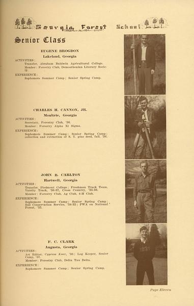 The Cypress Knee, 1937, Senior Class (continued), Eugene Brogdon, Charles H. Cannon, John B. Carlton, F. C. Clark, pg. 11