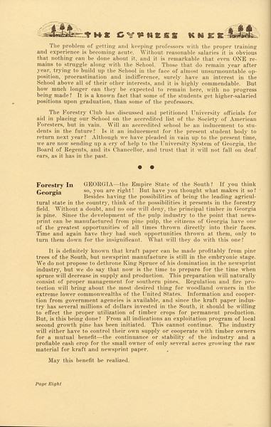 """The Cypress Knee, 1937, Editorials (continued), """"Forestry in Georgia"""", pg. 8"""