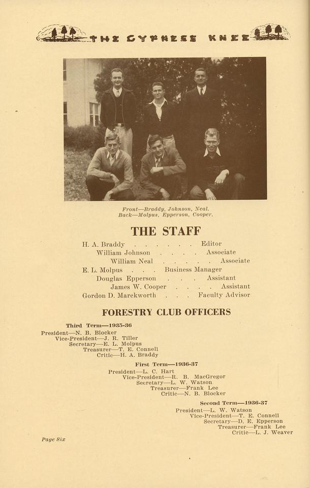 The Cypress Knee, 1937, The Staff, Forestry Club Officers, H. A. Braddy, William Johnson, William Neal, E. L. Molpus, Douglas Epperson, James W. Cooper, Gordon D. Marckworth, N. B. Blocker, J. R. Tiller, T. E. Connell, L. C. Hart, R. B. MacGregor, L. W. Watson, Frank Lee, L. J. Weaver, pg. 6
