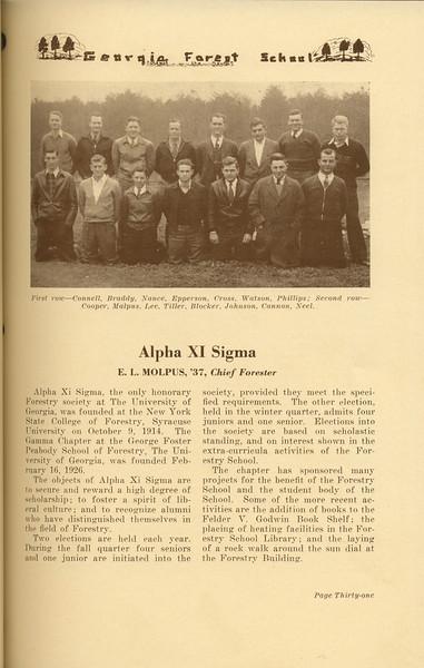 """The Cypress Knee, 1937, """"Alpha Xi Sigma"""", E. L. Molpus, pg. 31"""