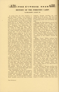 """The Cypress Knee, 1937, """"History of the Forestry Cabin"""", Richard C. Allen, pg. 36"""