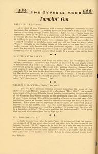 "The Cypress Knee, 1937, ""Tumblin' Out"", Ralph Bailey, Samuel Mayro Baker, Nelson B. Blocker, H. A. Braddy, pg. 52"