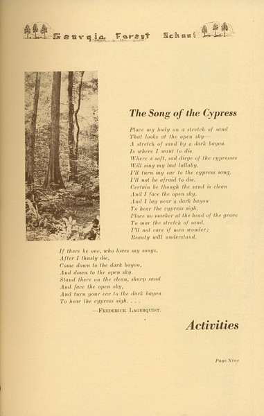 """The Cypress Knee, """"The Song of the Cypress"""", Activities Introduction, pg. 9"""