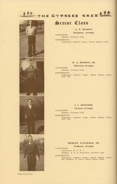 The Cypress Knee, 1937, Senior Class (continued), G. P. Hudson, W. O. Hudson, I. C. Kennedy, Harley Langdale, pg. 14