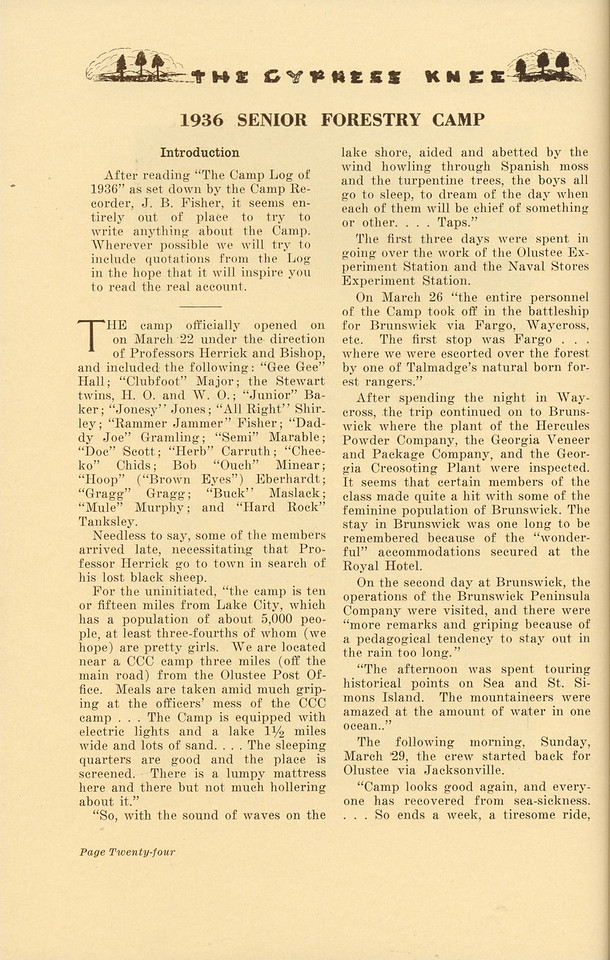 """The Cypress Knee, 1937, """"1936 Senior Forestry Camp"""", pg. 24"""