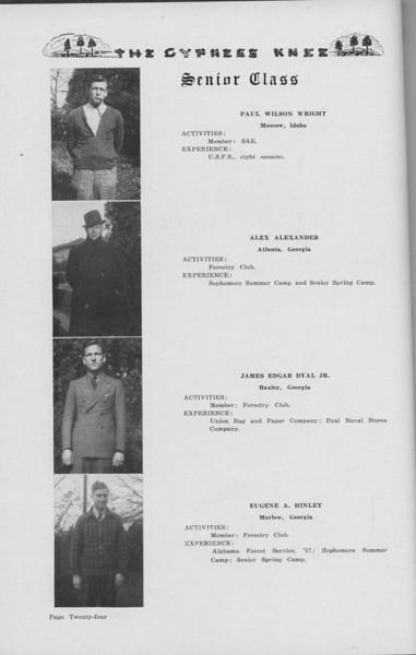 The Cypress Knee, 1938, Senior Class (continued), Paul Wilson Wright, Alex Alexander, James Edgar Dyal Jr., Eugene A. Hinley, pg. 24