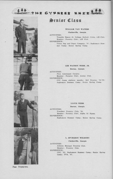 The Cypress Knee, 1938, Senior Class (continued), William Van Waters, Lee Watson Webb, Lloyd Webb, L. Spurgeon Welborn, pg. 22