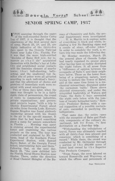 "The Cypress Knee, 1938, ""Senior Spring Camp- 1937), pg. 37"