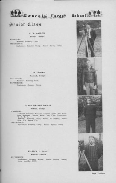 The Cypress Knee, 1938, Senior Class (continued), F. W. COllins, L. B. Cooper, James Weaver Cooper, William L. Crisp, pg. 13