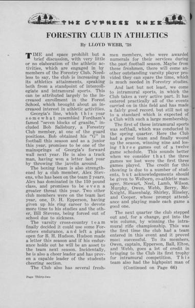The Cypress Knee, 1938, Forestry Club in Athletics, Lloyd Webb, pg. 32