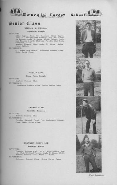 The Cypress Knee, 1938, Senior Class (continued), William R. Johnson, Phillip Kipp, Thomas Lamb, Franklin Joseph Lee, pg. 17