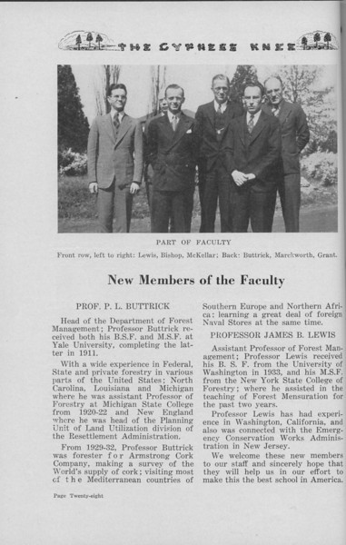 The Cypress Knee, 1938, New Members of the Faculty, P. L. Buttrick, James B. Lewis, pg. 28