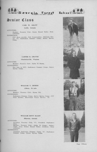 The Cypress Knee, 1938, Senior Class (continued), Carl W. Grant, Carter E. Graves, William R. Grmes, William Hoyt Haley, pg. 15