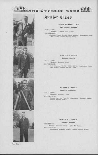 The Cypress Knee, 1938, Senior Class, James Richard Albin, Hugh Paul Allen, Richard C. Allen, Thomas Z. Atkeson, pg. 10