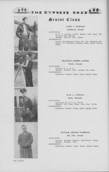 The Cypress Knee, 1938, Senior Class (continued), Carey C. Burnett, Franklin Robert Carter, Jack A. Carvill, William Arthur Clements, pg. 12