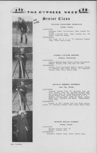 The Cypress Knee, 1938, Senior Class (continued), William Alexander Crossland, Russell Coulter Deckert, Doublas Hemming Epperson, Charles Millar Everett, pg. 14