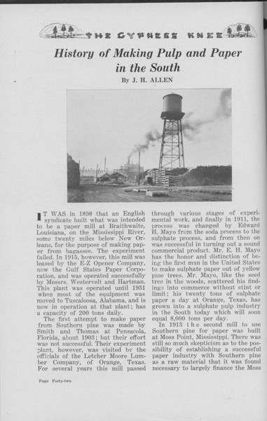 "The Cypress Knee, 1938m ""History of Making Pulp and Paper in the South"", J. H. Allen, pg. 42"