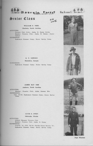 The Cypress Knee, 1938, Senior Class (continued), William F. Neel, E. T. Newson, James Ray Orr, Alvis Z. Owen, pg. 19