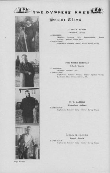 The Cypress Knee, 1938, Senior Class (continued), James S. Hardin, Phil Morris Hardman, W. W. Hazzard, Dawson M. Jennings, pg. 16