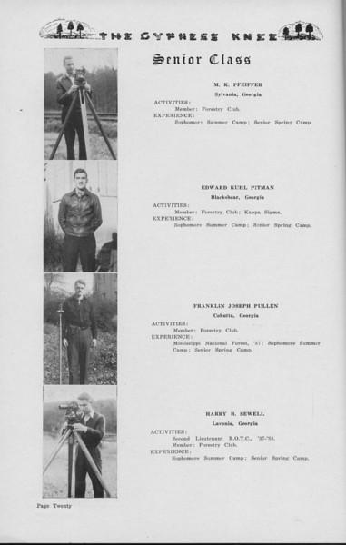 The Cypress Knee, 1938, Senior Class (continued), M. K. Pfeiffer, Edward Kuhl Pitman, Franklin Joseph Pullen, Harry B. Sewell, pg. 20