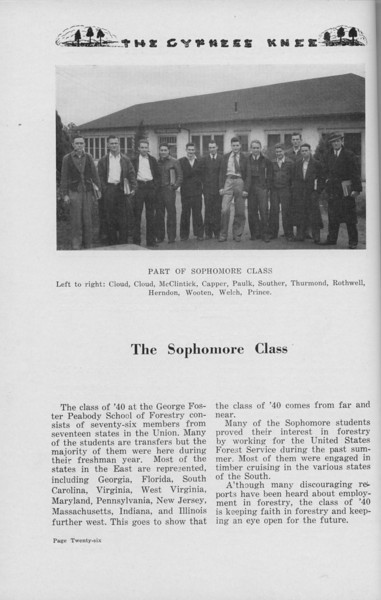 The Cypress Knee, 1938, The Sophomore Class, pg. 26