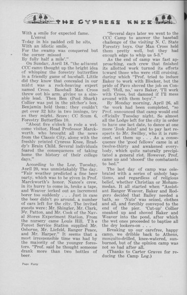 "The Cypress Knee, 1938, ""Senior Spring Camp- 1937"" (continued), pg. 40"
