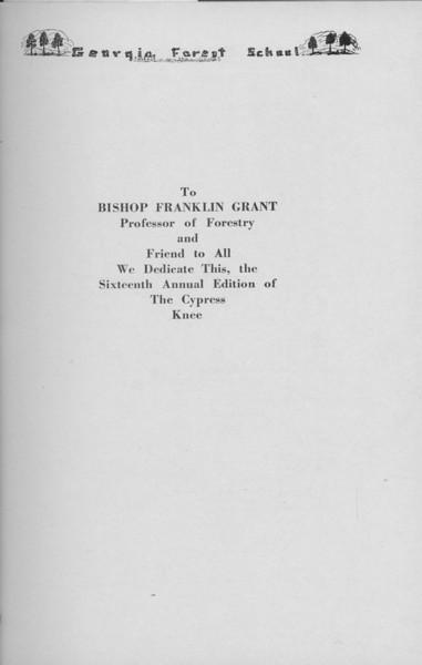 The Cypress Knee, 1938, Dedication, Bishop Franklin Grant, pg. 5
