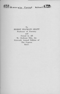 The Cypress Knee, 1938, Dedication, Bishop Franklin Grant, pg. 5