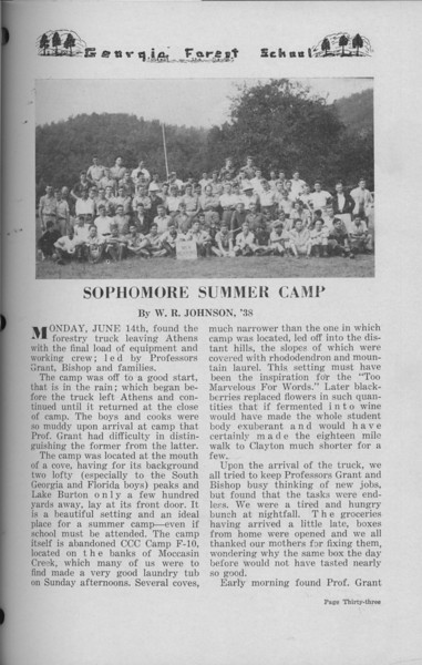 The Cypress Knee, 1938, Sophomore Summer Camp, W. R. Johnson, pg. 33