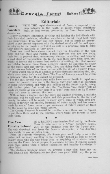 "The Cypress Knee, 1938, Editorials, ""County Foresters"", ""Five Year Forestry School"", pg. 7"