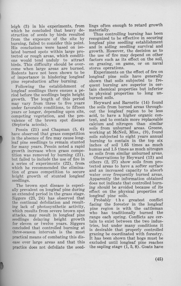 """The Cypress Knee, 1940, """"Controlled Burning and the Management of Longleaf Pine"""" (continued), Leroy Watson, pg. 45"""