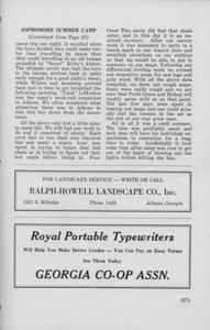 """The Cypress Knee, 1940, """"Sophomore Summer Camp"""" (continued), Ralph-Howell Landscape Co., Royal Portable Typewriters, pg. 57"""