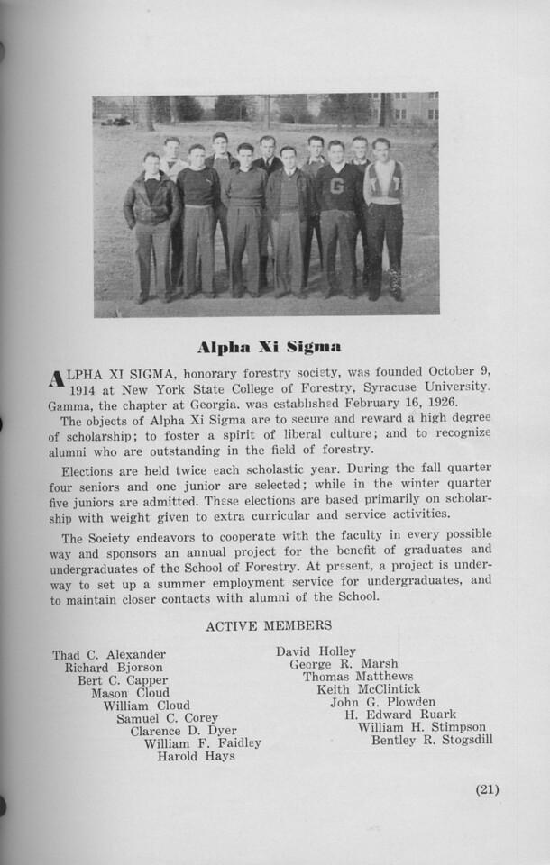 The Cypress Knee, 1940, Alpha Xi Sigma, pg. 21