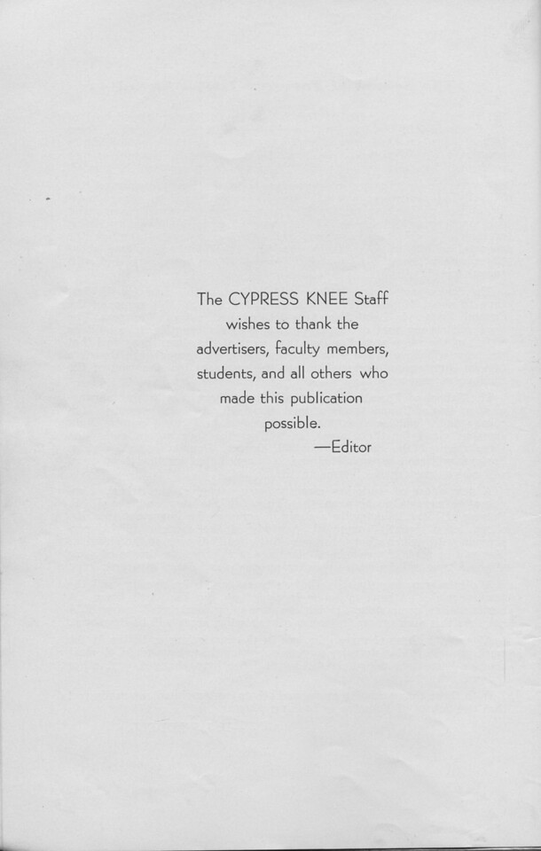 The Cypress Knee, 1940, Editor's Note, pg. 8