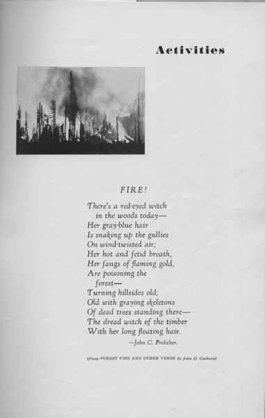 """The Cypress Knee, 1940, """"Fire"""", John C. Prolicher, Introduction to Activities, pg. 9"""
