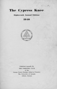 The Cypress Knee, 1940, Title Page, pg. 1