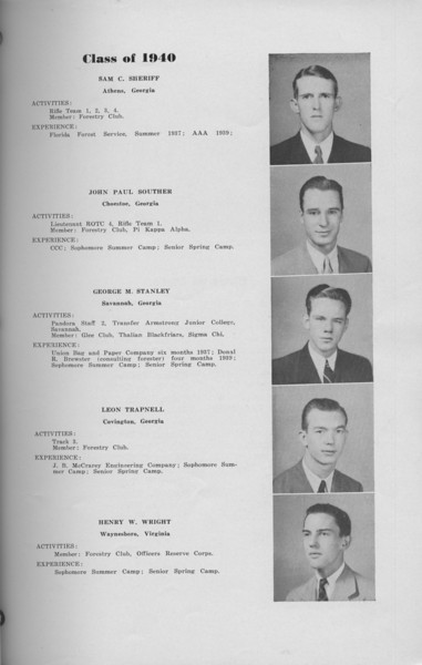 The Cypress Knee, 1940, Class of 1940, Sam C. Sheriff, John Paul Souther, George M. Stanley, Leon Trapnell, Henry W. Wright, pg. 15
