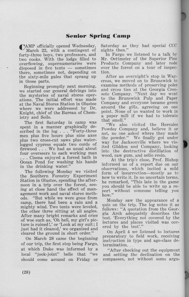 "The Cypress Knee, 1940, ""Senior Spring Camp"", pg. 28"