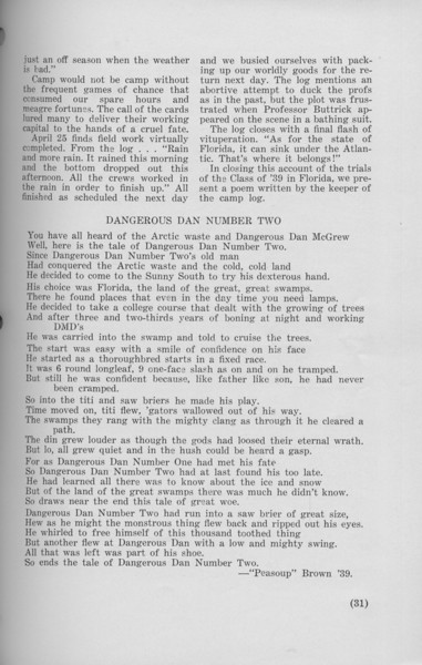 "The Cypress Knee, 1940, ""Senior Spring Camp"" (continued), ""Dangerous Dan Number Two"", ""Peasoup"" Brown"", pg. 31"